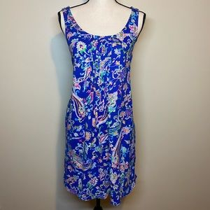 Ralph Lauren Blue Paisley Dress, Size XL